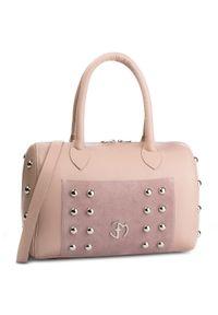 Różowy kuferek Eva Minge klasyczny, skórzany