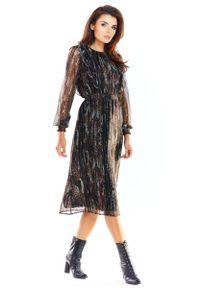 Awama - Piękna Szyfonowa Sukienka z Kolorowym Wzorem - Wzór 3. Materiał: szyfon. Wzór: kolorowy