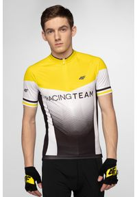 4f - Koszulka rowerowa męska RKM154 - żółty. Typ kołnierza: kołnierzyk stójkowy. Kolor: żółty. Materiał: włókno. Długość rękawa: raglanowy rękaw. Długość: długie. Sport: kolarstwo