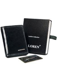 LOREN - Portfel męski czarny Loren FRM-70-01Z BLACK. Kolor: czarny. Materiał: skóra