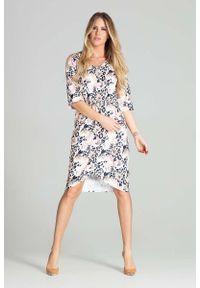 Figl - Sukienka Midi z Kopertowym Dołem - Wzór 112. Materiał: poliester. Typ sukienki: kopertowe. Długość: midi