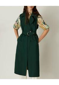 Marella - MARELLA - Zielony trencz bez rękawów Limone. Kolor: zielony. Materiał: bawełna, elastan, materiał. Długość rękawa: bez rękawów. Wzór: gładki. Sezon: wiosna