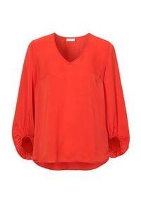 Freequent Bluzka Nicco rdzawoczerwonyy female pomarańczowy/czerwony M (40). Typ kołnierza: dekolt w serek. Kolor: czerwony, wielokolorowy, pomarańczowy. Materiał: tkanina. Długość: długie. Styl: elegancki