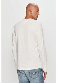 Biała koszulka z długim rękawem Tommy Jeans z aplikacjami, na co dzień, casualowa