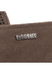 Szare botki Big-Star z aplikacjami, na średnim obcasie, z cholewką