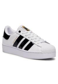 Białe półbuty Adidas casualowe, z cholewką, na co dzień