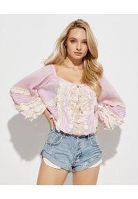 GADO GADO - Różowa bluzka z haftem Sweet Sky. Kolor: różowy, fioletowy, wielokolorowy. Materiał: koronka, bawełna. Długość: długie. Wzór: haft. Styl: vintage