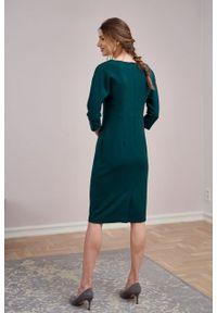 Marie Zélie - Sukienka Milena krepa wiskozowa zielona. Kolor: zielony. Materiał: wiskoza. Typ sukienki: proste