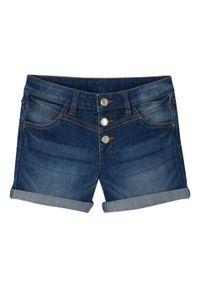 """Szorty dziewczęce dżinsowe ze stretchem bonprix niebieski """"stone"""". Kolor: niebieski. Długość: krótkie"""