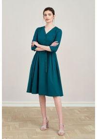 Marie Zélie - Sukienka Alodia ciemna zieleń. Materiał: tkanina, skóra, wiskoza, materiał. Wzór: kolorowy, kwiaty. Sezon: jesień