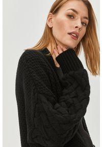 Czarny sweter rozpinany Answear Lab wakacyjny, długi, na co dzień, z długim rękawem