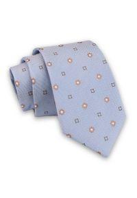 Alties - Niebieski Elegancki Męski Krawat -ALTIES- 7cm, Stylowy, Klasyczny, w Beżowy Wzór. Kolor: niebieski, beżowy, brązowy, wielokolorowy. Materiał: tkanina. Styl: klasyczny, elegancki