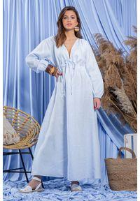 Fobya - Błękitna Maxi Lniana Sukienka - Błękitna. Kolor: niebieski. Materiał: len. Długość: maxi