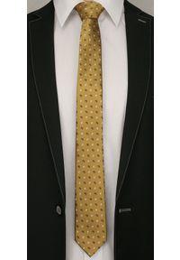 Alties - Złoty Elegancki Męski Krawat -ALTIES- Żółty, Wzór Paisley. Kolor: złoty, żółty, wielokolorowy. Materiał: tkanina. Wzór: paisley. Styl: elegancki