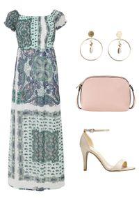 Biała sukienka bonprix maxi, z nadrukiem, na lato