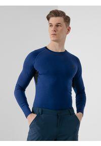 4f - Longsleeve treningowy męski. Kolor: niebieski. Materiał: dzianina, materiał. Długość rękawa: długi rękaw