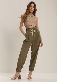Zielone spodnie z wysokim stanem Renee