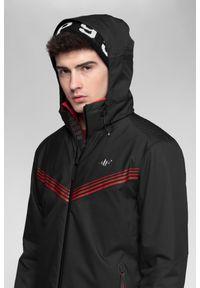 Czarna kurtka narciarska 4f Dermizax, plus size, na zimę, ze stójką