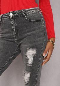 Renee - Ciemnoszare Jeansy Skinny Willoris. Stan: podwyższony. Kolor: szary. Długość: długie. Wzór: aplikacja. Styl: elegancki #3
