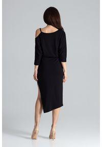 Lenitif - Asymetryczna sukienka z kimonowym rękawem czarna. Okazja: na co dzień. Kolor: czarny. Materiał: tkanina. Typ sukienki: asymetryczne. Styl: casual