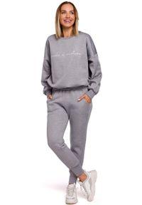 MOE - Uniwersalne Dresowe Spodnie na Gumie - Stalowe. Kolor: szary. Materiał: dresówka, guma