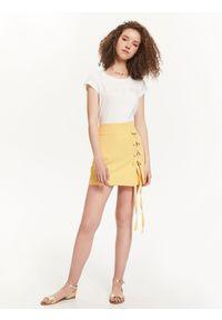 Żółta spódnica TROLL z podwyższonym stanem, na jesień, w kolorowe wzory
