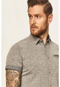 Szara koszula Tom Tailor Denim z krótkim rękawem, z klasycznym kołnierzykiem, krótka, na co dzień