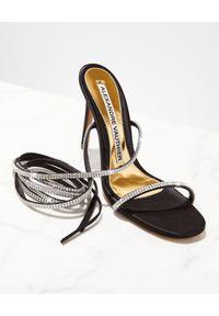 ALEXANDRE VAUTHIER - Sandały z kryształami Amina. Zapięcie: pasek. Kolor: czarny. Materiał: satyna. Wzór: paski