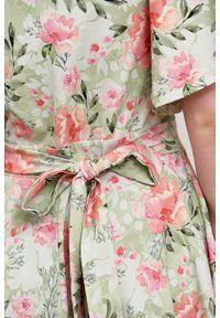 Marie Zélie - Sukienka Eudora Hana zielona. Typ kołnierza: dekolt kopertowy. Kolor: zielony. Materiał: bawełna, dzianina, elastan. Typ sukienki: kopertowe