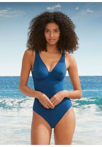 Kostium kąpielowy na fiszbinach bonprix niebieskozielony morski. Kolor: niebieski