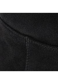 Czarny kozaki Eva Minge z cholewką, z aplikacjami, z cholewką przed kolano