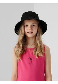 4f - Kapelusz bucket hat dziecięcy. Kolor: czarny. Materiał: bawełna, dzianina