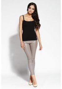 Dursi - Czarna Bluzka na Ramiączkach z Pęknięciem. Kolor: czarny. Materiał: wiskoza, elastan. Długość rękawa: na ramiączkach
