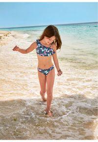 Bikini dziewczęce (2 części) bonprix ciemnoniebieski z nadrukiem. Kolor: niebieski. Wzór: nadruk