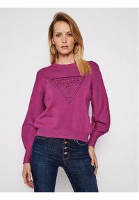 Fioletowy sweter klasyczny Guess