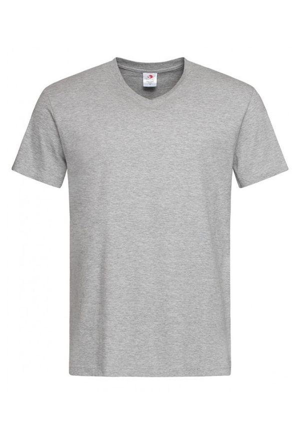 Szary t-shirt Stedman krótki, na co dzień, casualowy
