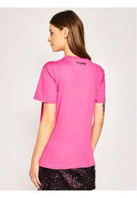 Różowy t-shirt Karl Lagerfeld z nadrukiem, z dekoltem karo
