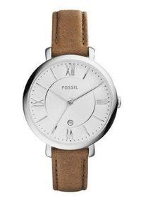 Fossil - Zegarek ES3708. Kolor: brązowy. Materiał: skóra, materiał