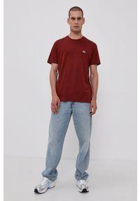 Lee - T-shirt bawełniany. Okazja: na co dzień. Kolor: brązowy. Materiał: bawełna. Wzór: gładki. Styl: casual