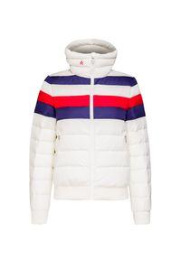 Biała kurtka narciarska Perfect Moment w kolorowe wzory