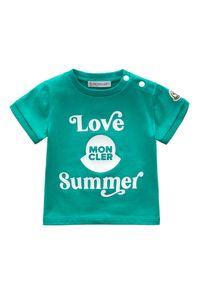MONCLER KIDS - Zielony t-shirt z grafiką 0-2 lat. Kolor: zielony. Materiał: bawełna. Wzór: aplikacja. Sezon: lato