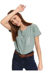 Zielony t-shirt TOP SECRET z krótkim rękawem, casualowy, na lato