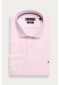 Różowa koszula Tommy Hilfiger Tailored z włoskim kołnierzykiem, długa