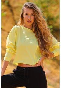 Infinite You - Krótka Bluzka z Surowymi Wykończeniami - Żółta. Kolor: żółty. Materiał: lycra, bawełna. Długość: krótkie
