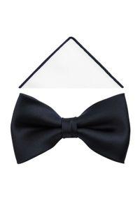 Adam Collection - Granatowa elegancka mucha męska o delikatnym połysku A10. Kolor: niebieski. Materiał: tkanina, poliester. Styl: elegancki