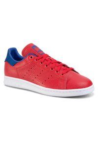 Czerwone półbuty Adidas na co dzień, casualowe, z cholewką