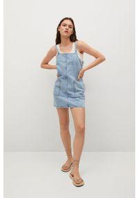 mango - Mango - Sukienka jeansowa LEXIA. Okazja: na co dzień. Kolor: niebieski. Materiał: jeans. Długość rękawa: na ramiączkach. Typ sukienki: proste. Styl: casual