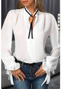 Biała bluzka IVET biznesowa, na co dzień
