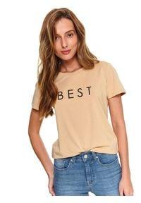 TOP SECRET - T-shirt z aplikacją. Okazja: na co dzień. Kolor: beżowy. Materiał: materiał. Długość rękawa: krótki rękaw. Długość: krótkie. Wzór: aplikacja. Sezon: jesień. Styl: klasyczny, casual