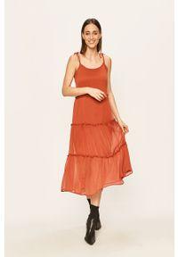 Sukienka Noisy may z okrągłym kołnierzem, prosta, maxi, na ramiączkach